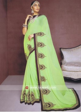 Pista Green Patch Work Saree