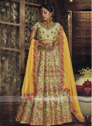 Pista Green Raw Silk Lehenga Choli