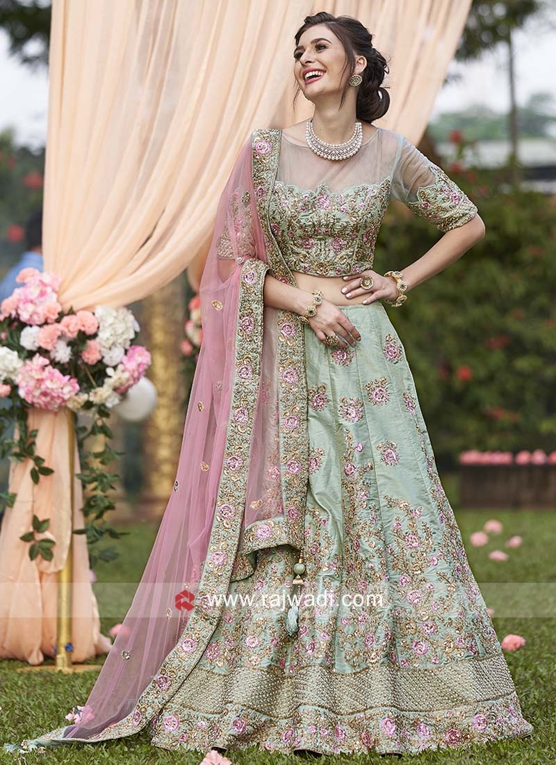 Pista Green Raw Silk Lehenga Set