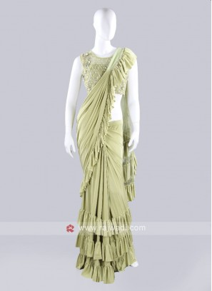 Pista green ruffle saree