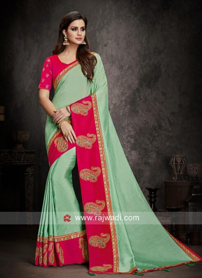Pista Green Saree with Contrast Border