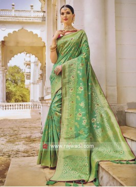 Pista Green Saree with Deep Pink Blouse