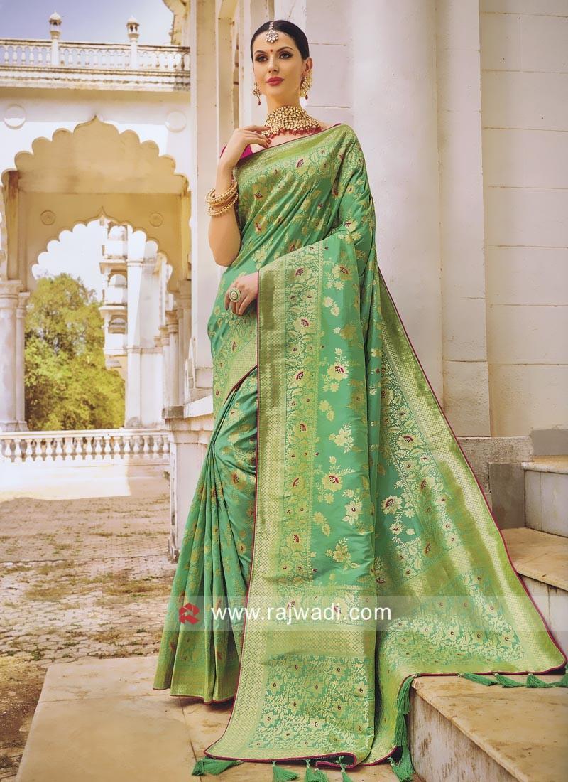 Pista Green Saree with Deep Pink Blouse