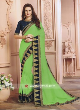 Pista Green Saree with Designer Border