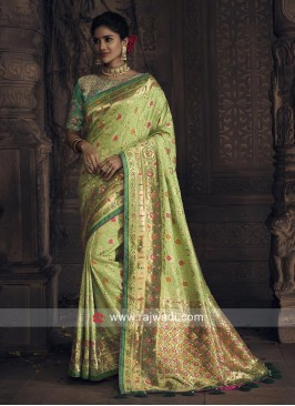 Pista Green Saree with Heavy Blouse