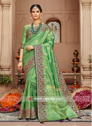 Pista Green Saree with Matching Blouse