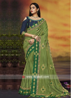 Pista Green Saree with Navy Blue Blouse