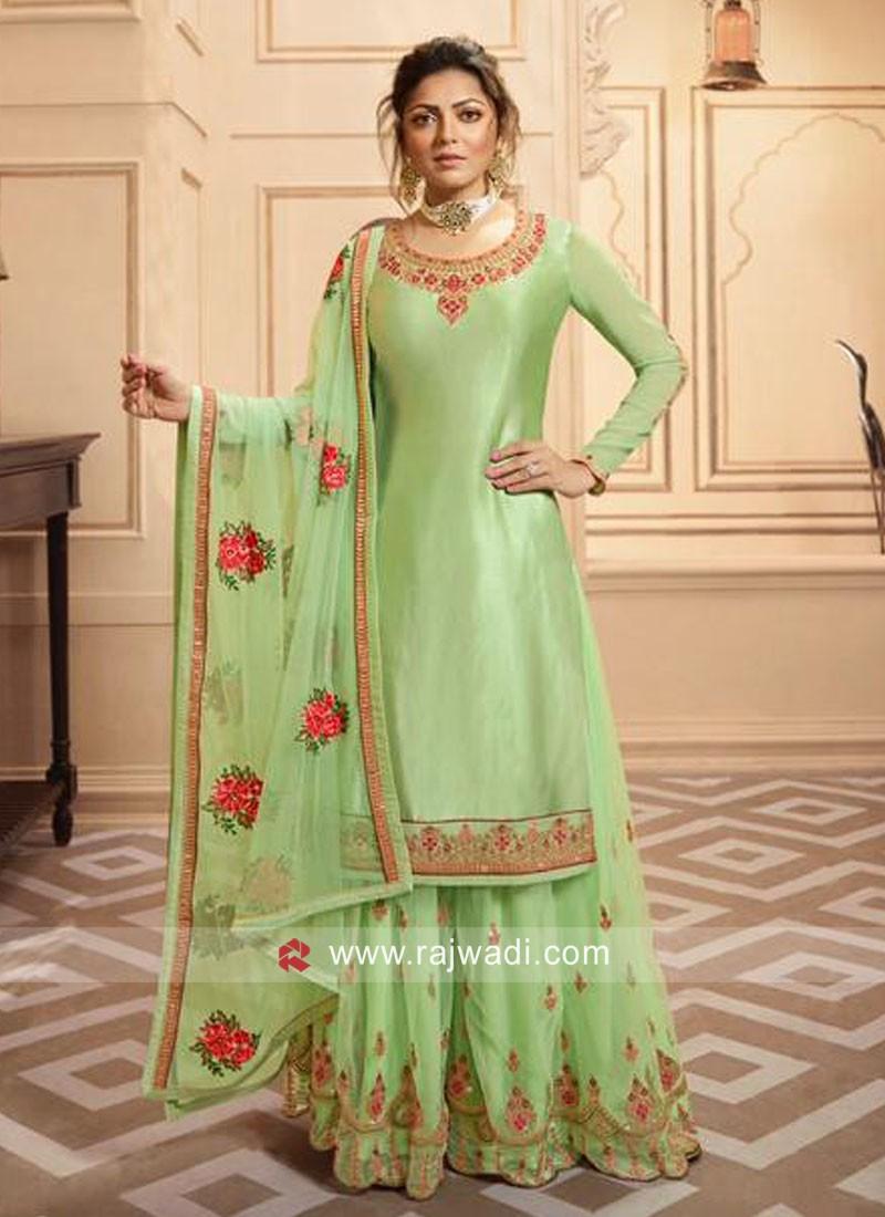 Pista Green Satin Silk Gharara Suit