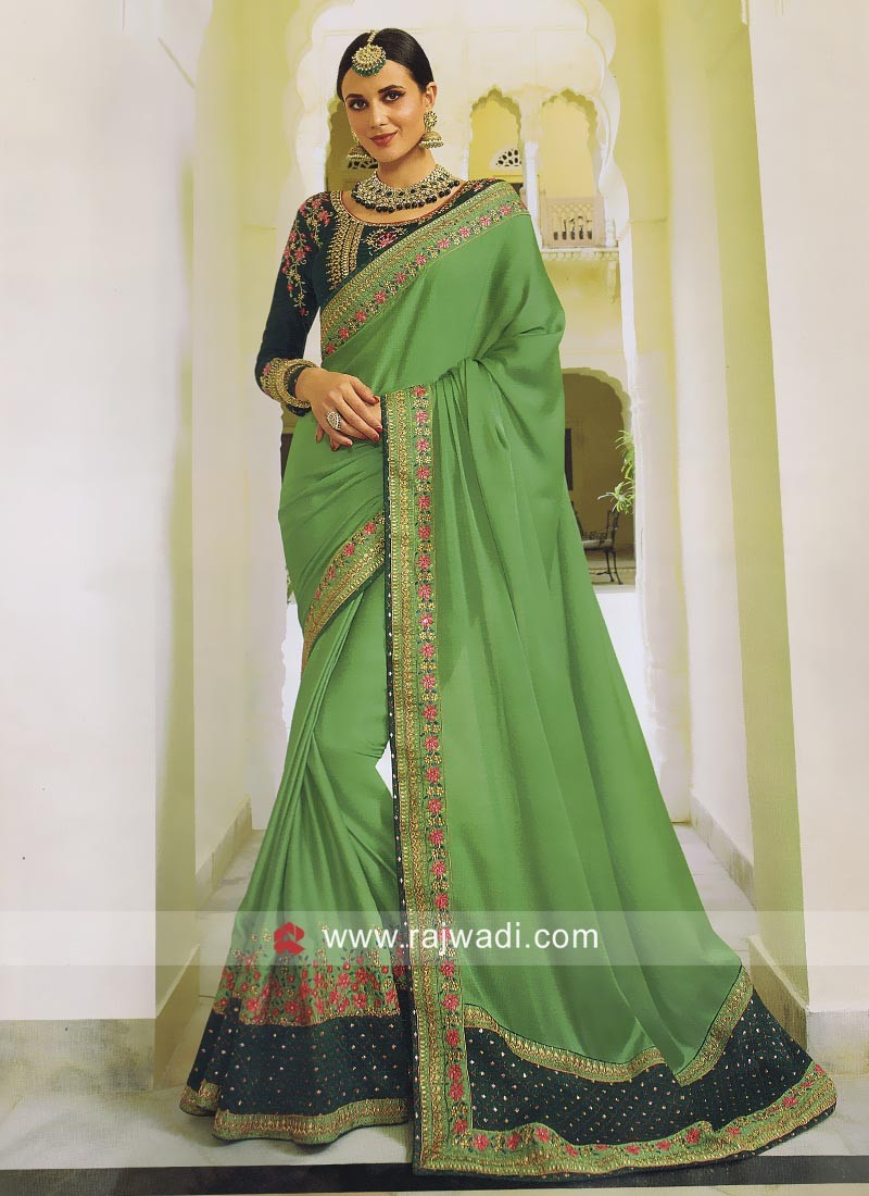 5fdc89585f68a0 Ready To Ship. Pista Green Satin Silk Saree. Hover to zoom