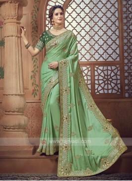 Pista Green Satin Silk Saree