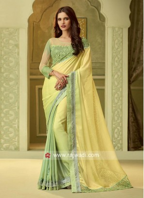 Pista Green Shaded Party Wear Saree