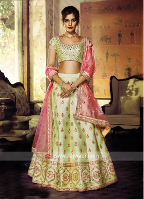 Pista Green Silk Heavy Lehenga Set