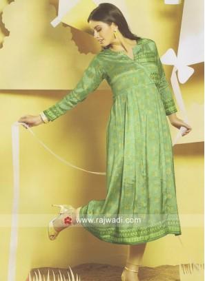 Pista Green Silk Kurti