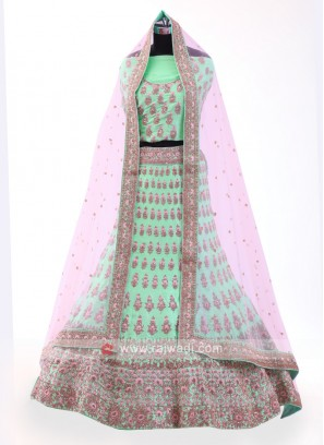 Pista Green Silk Lehenga Choli