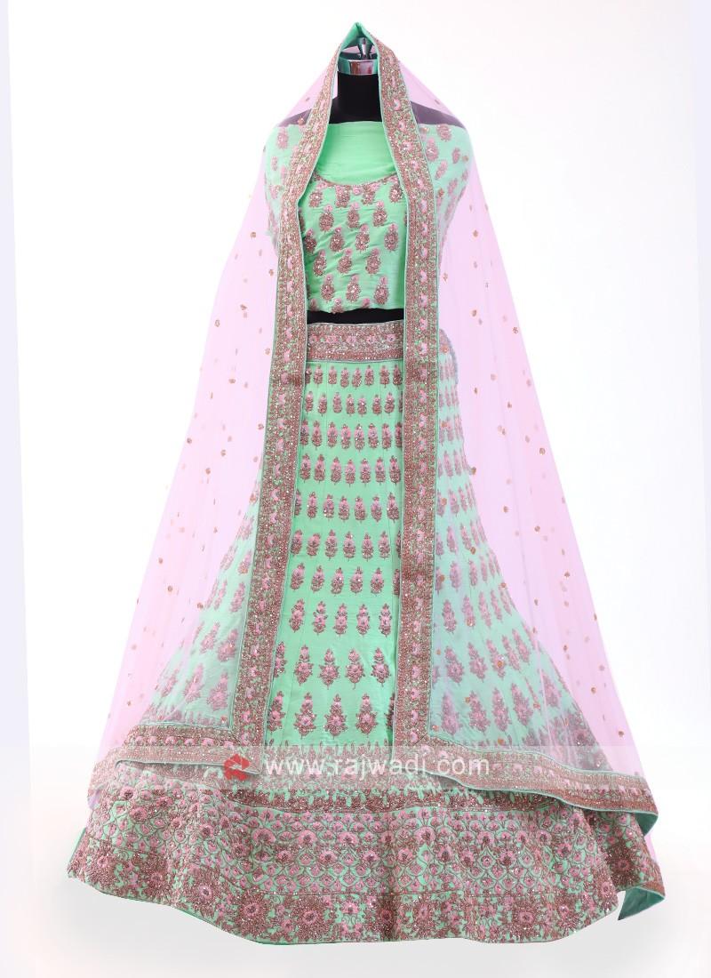 Pista Green Silk Lehenga Choli