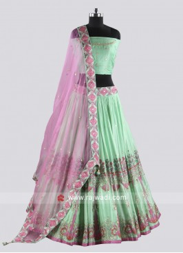 Pista Green Soft Silk Lehenga Set