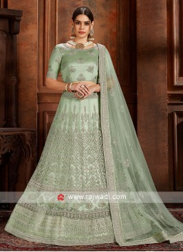 Pista Green soft net Lengha Choli with matching dupatta.