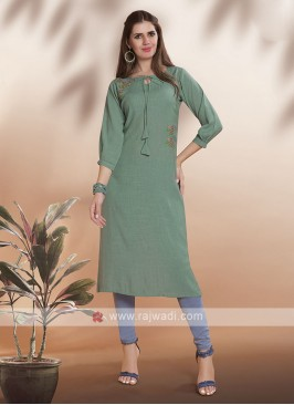 Pista Green Straight Fit Kurti
