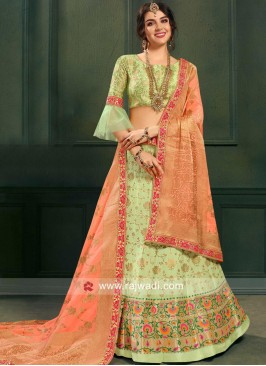 Pista Green Unstitched Brocade Lehenga