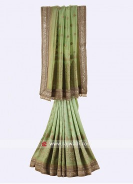 Pista Green Wedding Heavy Saree