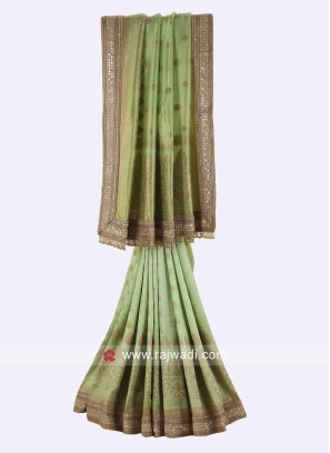Pista Green Wedding Heavy Saree