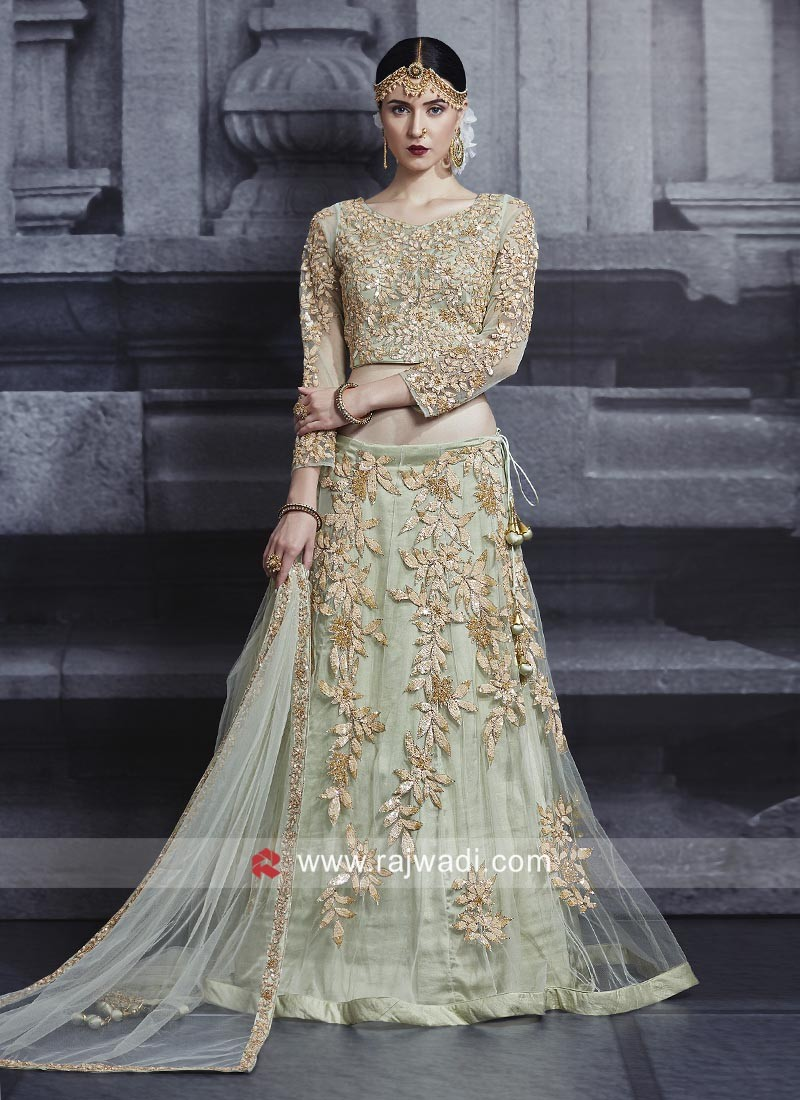 Pista Green Wedding Choli Suit