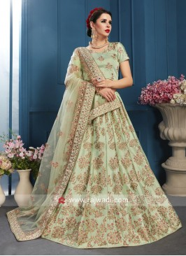 Pista Green Wedding Lehenga Set with Dupatta