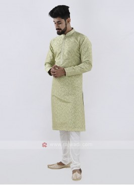 Pista green & White Kurta Pajama For Men