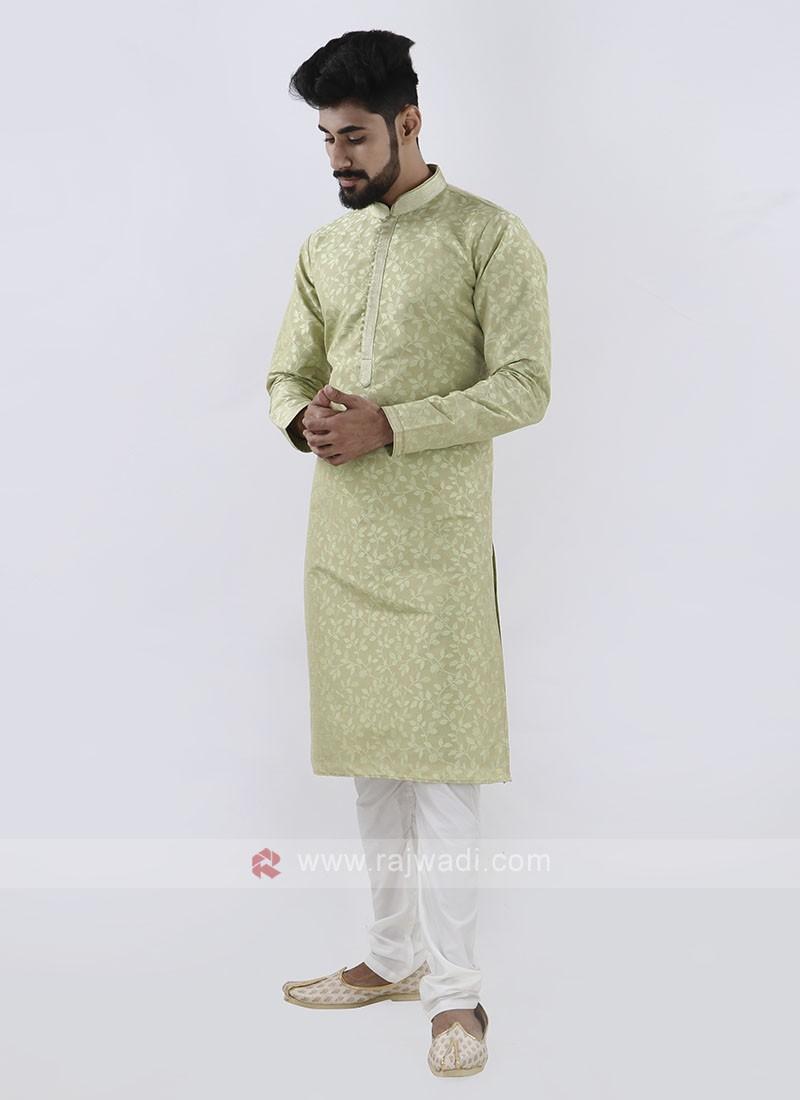 Pista green & White Kurta Pajama For Men
