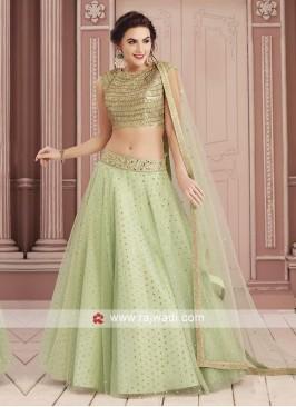 Pista Green Zari and Sequins Work Choli Set
