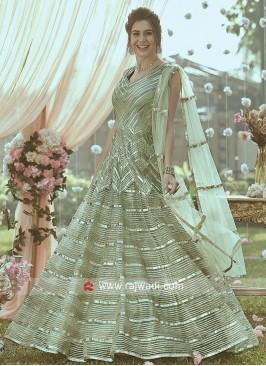 Pista Green Zari Work Anarkali Gown
