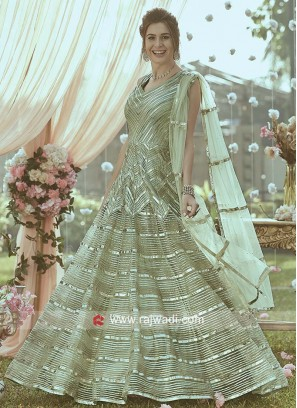 Pista Green Zari Work Anarkali Gown
