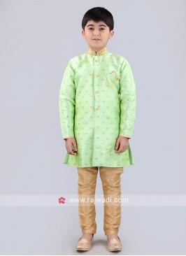 Pista Green Zari Work Indo Western
