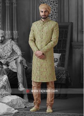 Pista Green Zari Work Sherwani