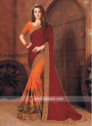 Pita Work Art Silk and Chiffon Silk Half Saree
