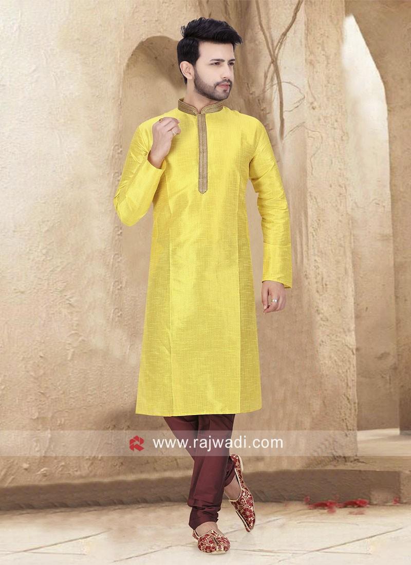 Yellow Kurta Pajama For Sangeet