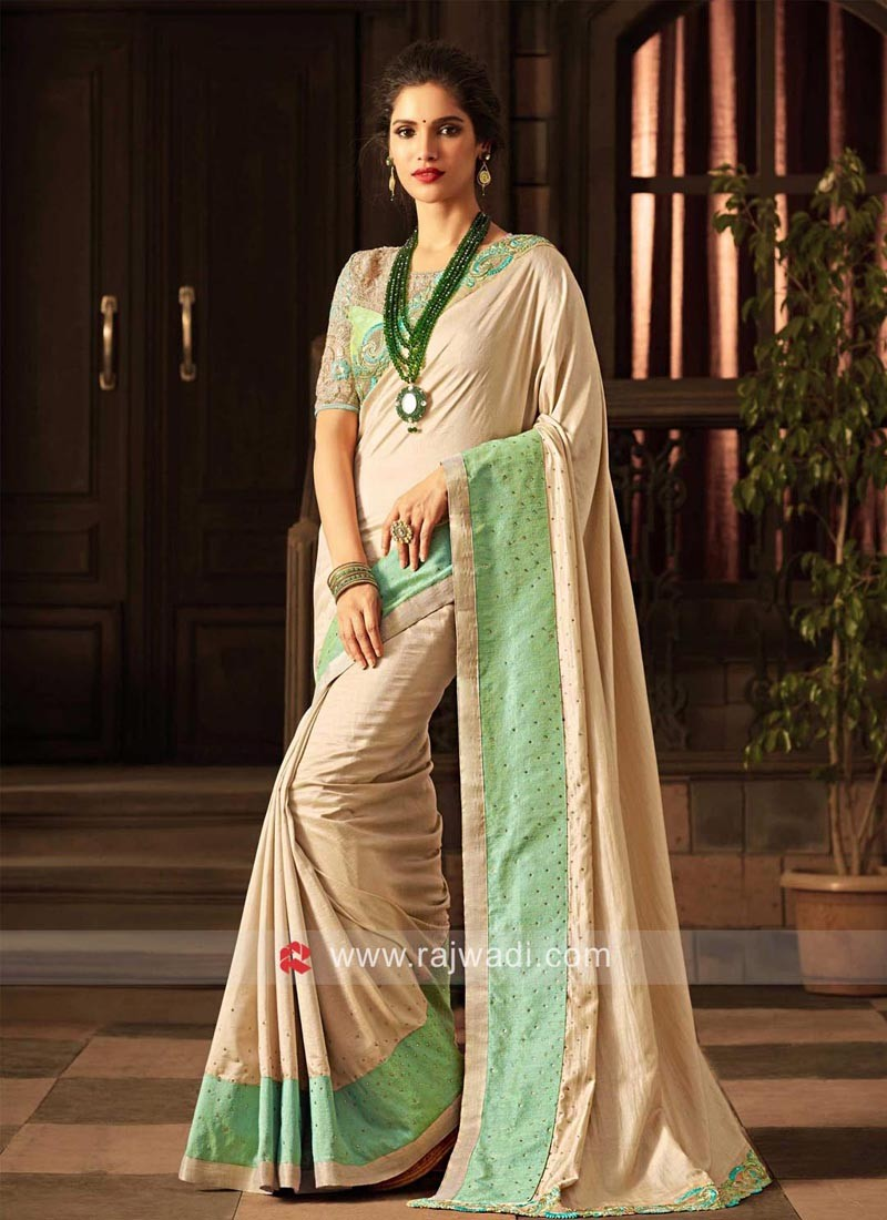 Plain Art Silk Saree with Broad Border