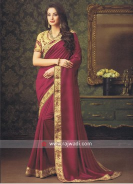 Plain Art Silk Saree with Stone Work Border