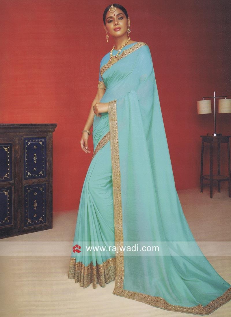 Plain Art Silk Saree with Zari Border