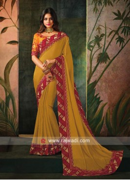 Plain Art Silk Sari with Contrast Border