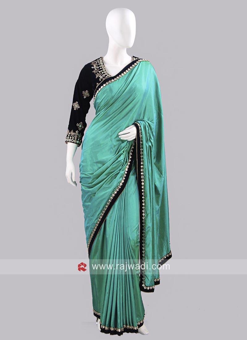 Plain Art Silk Sari with Lace Border