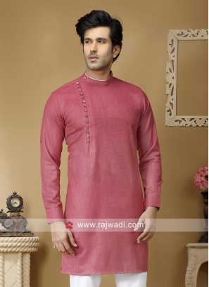 Plain Salmon Color Kurta