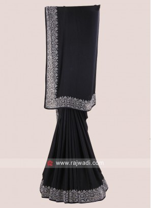Plain Black Saree with Border Work