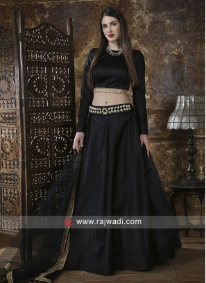 Plain Black Tafeta Silk Lehenga Choli