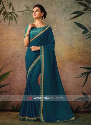 Plain Blue Border Work Sari