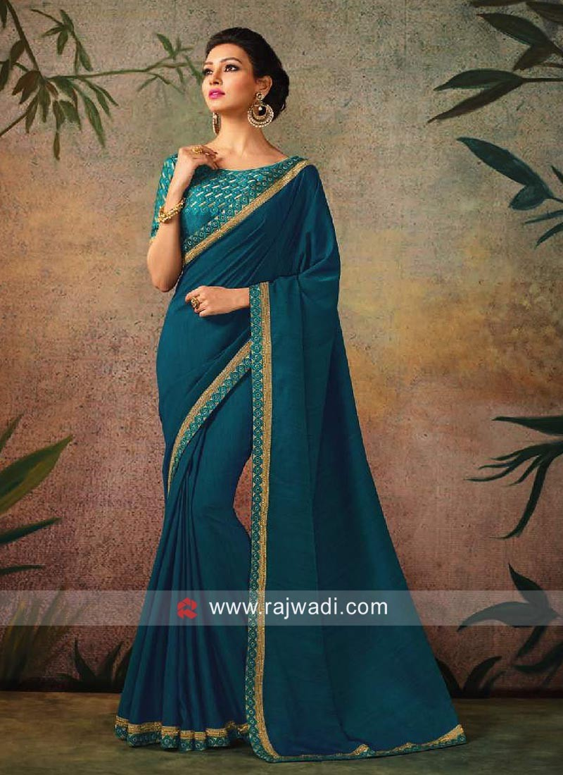 Plain Blue Border Work Sari