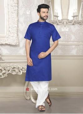 Plain Blue Color Kurta Pajama