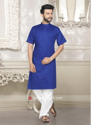 Plain Blue Color Kurta Pajama