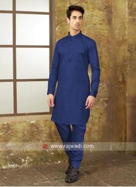 Plain Blue Color Pathani Suit