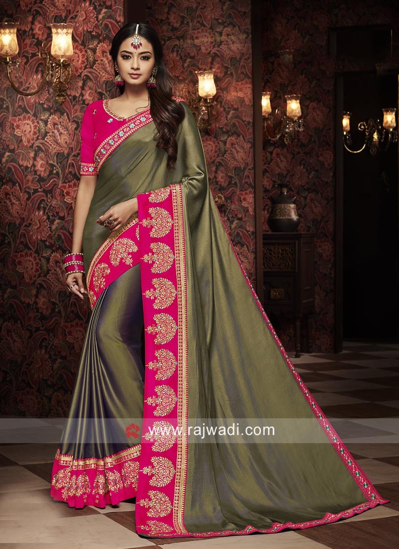 Plain Border Work Saree